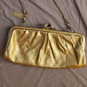 Coach Gold Leather Kisslock Amanda Darcy Clutch